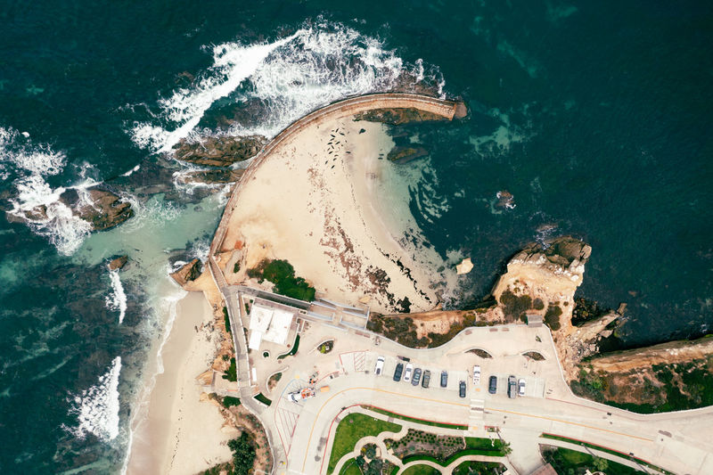 Top down birdseye view of children's pool in la jolla, california,