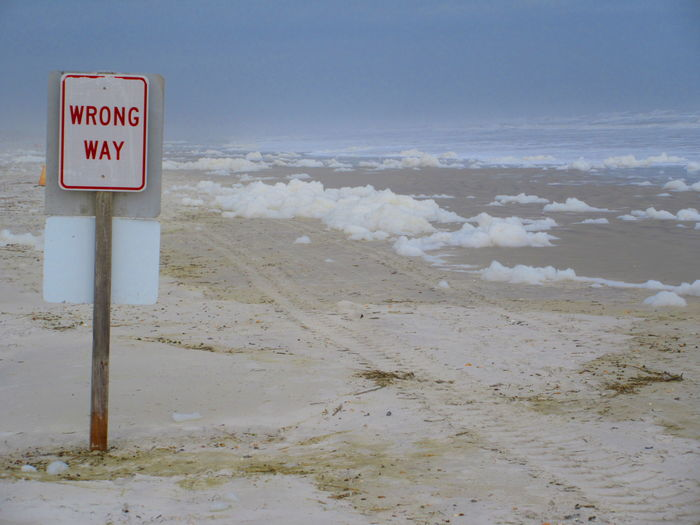 WARNING SIGN ON BEACH