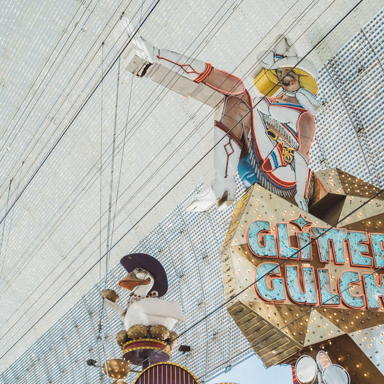 Advertising Architecture Building Exterior Close-up Cowgirl Day Daylight Downtown Freemontstreet Fremont California Fremont Street FremontStreet Gambling Glitter Gulch Horizontal Las Vegas Neon No People Outdoors Pastel Power