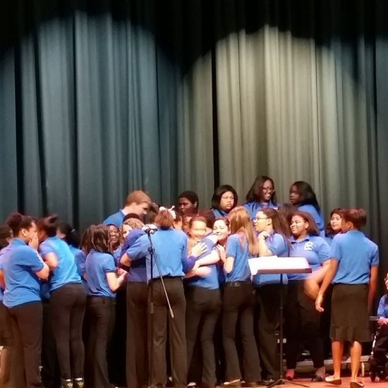Tonight was the 8th grade chorus last performance and I've had a great time singing with all of our guys. We've aggravated each other, laughed at each other, cried with each other , just about anything and even though we've definitely had our ups and downs I love every single one of you guys Chorus 8thGrade Lastpreformance ????