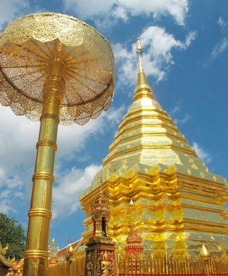 My Favorite Photo Phathat doi Suthep in Chaing mai Thailand Phathat Doi Suthep Beautiful Golden Temple Thailand Pray Lifestyle Sky