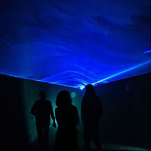 Underwater experience Overnight Success Silhouette Men Togetherness Blue Leisure Activity Standing Rear View Lifestyles Friendship Person Group Of People Outline Illuminated Night Sky City Life Vacations Dark Back Lit Tourism Streetphoto_color Nightphotography Shootermag The City Light