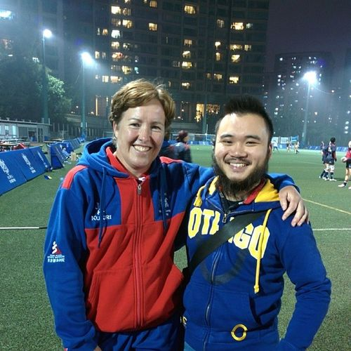 First interview in my career done. With Hkrugby ladies' coach and Blackferns legend Anna Richards! Come on HongKong !