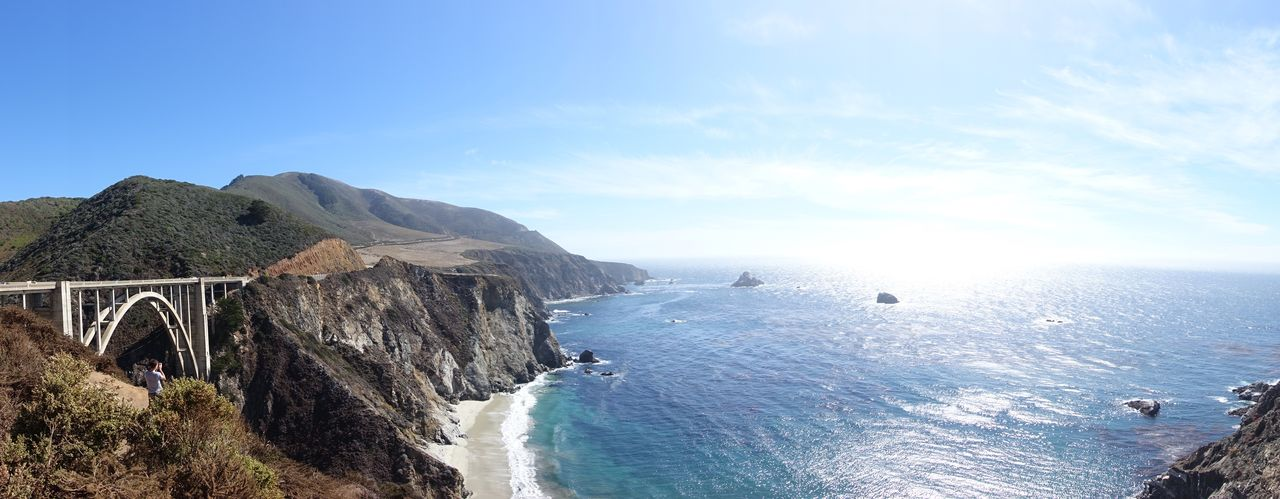 Route 1 Pacific Coast Highway Beauty In Nature Scenics - Nature Sky Water Sea Mountain Tranquil Scene Nature Bridge Tranquility Day Architecture Connection Built Structure Land Bridge - Man Made Structure Idyllic Cloud - Sky Transportation No People Outdoors Bixby Creek Bridge