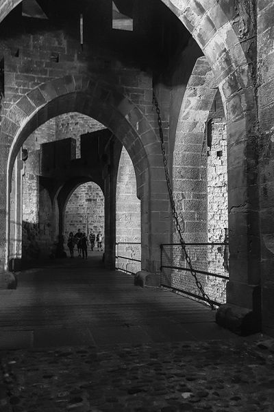 Carcassonne Carcassonne City MedievalTown Night Photography Arch Architecture Archway Black And White Black And White Photography Built Structure History Medieval Architecture Monochrome Photography Night Travel Destinations