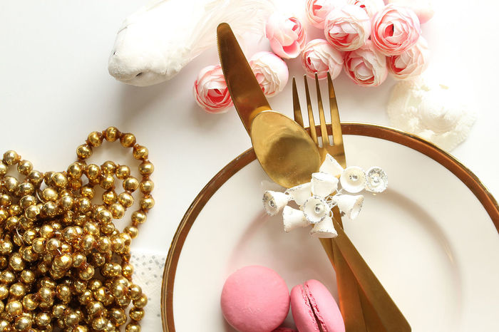 Beautiful Bright Eating Elegant Food And Drink Garland Gold Meal Reception Setting Wedding Bells Blush Pink Close Up Concept Decorations Dove Luxury Macaroon Plate Ranunculus Table View From Above White