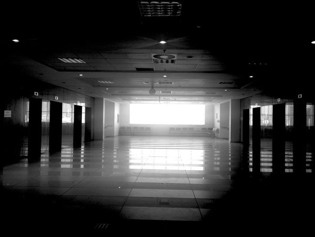 Empty Indoors  Ceiling Illuminated Architecture Long Hospital Day Elevator Blackandwhite No People EyeEm Best Shots