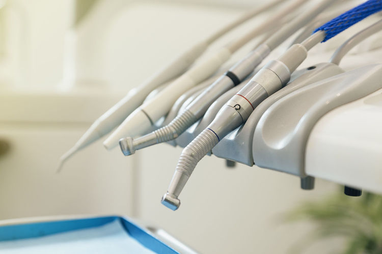 Close-Up Of Dental Equipment In Medical Clinic