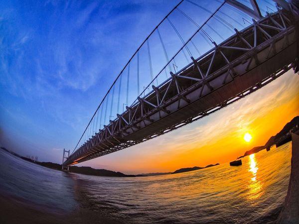瀬戸大橋 Sunset Bridge - Man Made Structure 魚眼