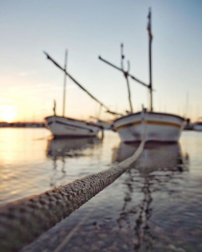 Nautical Vessel Sunset Water Moored Transportation Sea Boat Reflection Selective Focus Cloud Calm Harbor Sky Fishing Boat Focus On Foreground Sun Ocean Ship Tranquil Scene Nature