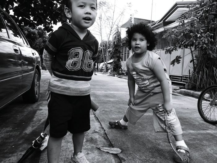 Monochrome Photography Bestfriends Childhood Memories Childhoodbuddy Candidmoments Candid Faces Candidphotography Candid Shot Mysonplaytime Neighborfriend First Eyeem Photo
