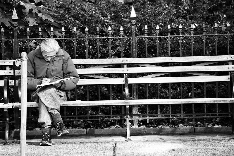 Full Length Leisure Activity Casual Clothing Lifestyles Childhood Person Fence Playing Railing Day Innocence Outdoors Focus On Foreground Footpath City Life New York City Flatiron Building B&w Black And White Street Photography Monochrome Photography