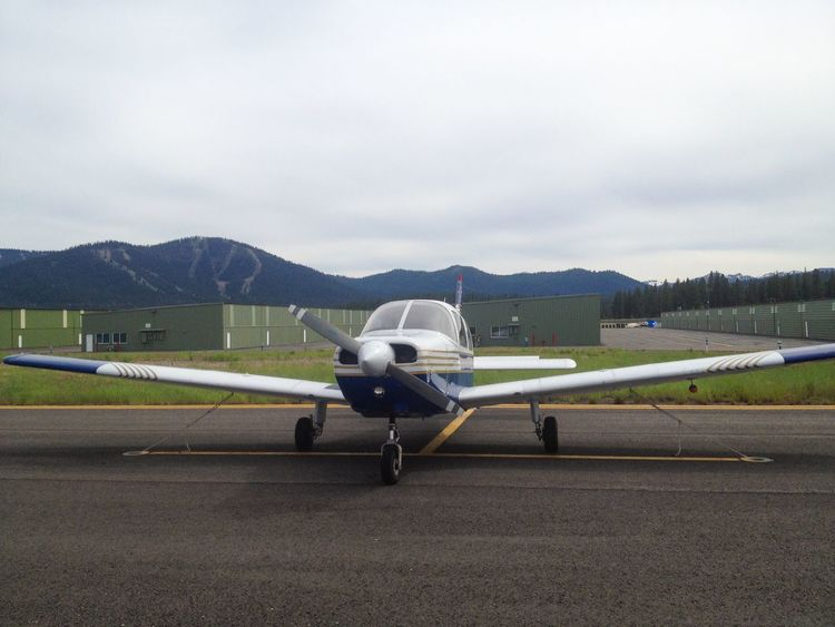 Small Beechcraft Airplane in transient Parking at the Airport Aviation Runway Aircraft