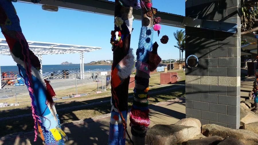 51 days driving around Australia - Day 46 Yeppoon Yarn Bombing Beach Day Hanging Sunlight
