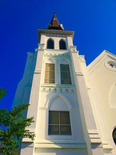 Charleston Church StandStrong Holy City Religion Place Of Worship Architecture Spirituality Low Angle View Building Exterior Built Structure Sunlight Bell Tower Clear Sky