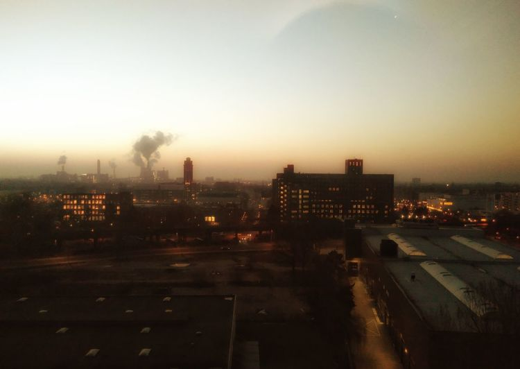 Maschinenstadt. Sunset Industry Architecture Sky Smoke Cityscape Siemenswerke