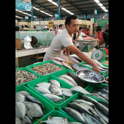 "Ikan sering disebut sebagai makanan untuk kecerdasan. Ikan sebagai makanan sumber protein yang tinggi. Kalau dalam menu sehari-hari kita menghidangkan ikan, maka kita memberikan sumbangan yang tinggi pada jaringan tubuh kita. ""Boleh bang ikannya"" :D Fish Sea PasarSegar Instalike Likeforlike Huntingpagi Sehat"