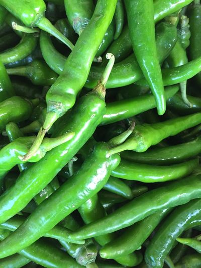 Green Color Vegetable Full Frame Freshness Backgrounds Food Food And Drink No People Healthy Eating Close-up Green Chili Pepper Outdoors Day