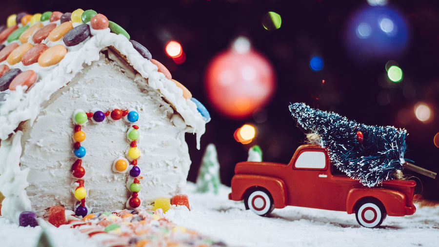 Close-up of christmas decoration on snow