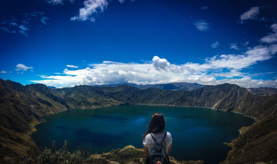 Quilotoa's vulcanic lagune Southamerica Backpacking Adventure Ecuador Travel Scenics - Nature Mountain Rear View Real People Tranquility Idyllic Cloud - Sky Lake Water Nature Blue Lifestyles Day