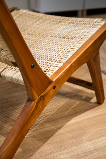 Close-up of chair at home