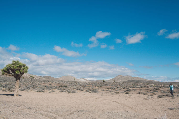 Scenic view of desert against blue sky
