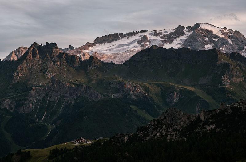 Marmolada and sasso di mezzodi view in the sunset - val badia - alto adige sudtirol