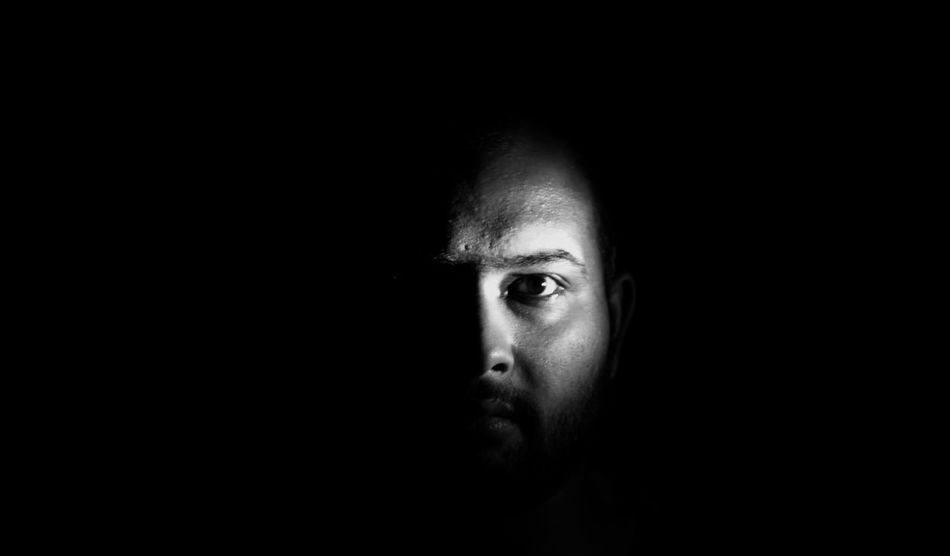 Black Background Looking At Camera Monochrome Portrait Self Portrait Experiments Staring