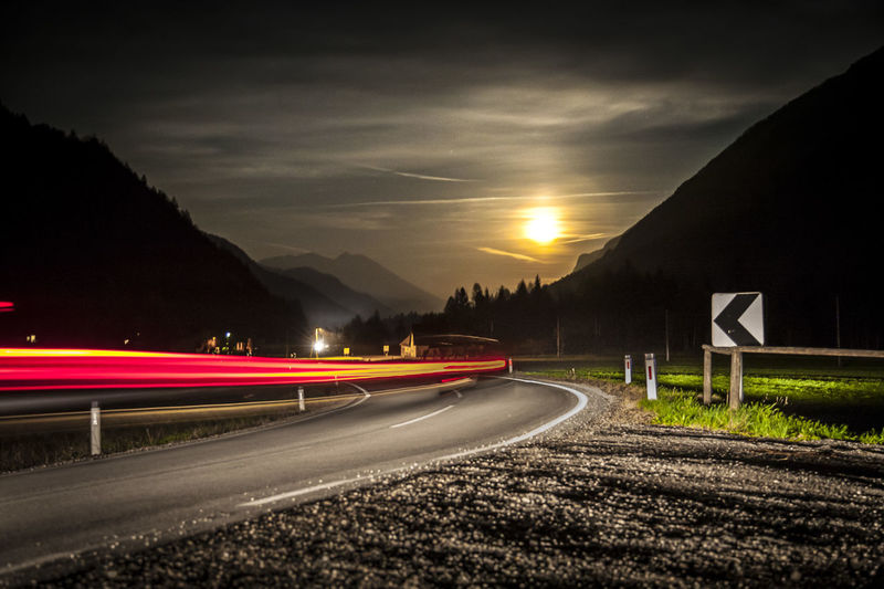 Nightphotography Road Carlights Long Exposure Moonlight Motion Mountains Speed