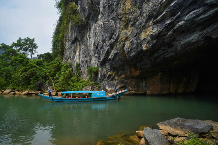 Phong Nha cave Cave Tourist Attraction  Nature Water Nautical Vessel Lake Moored Beach Rock - Object Sky