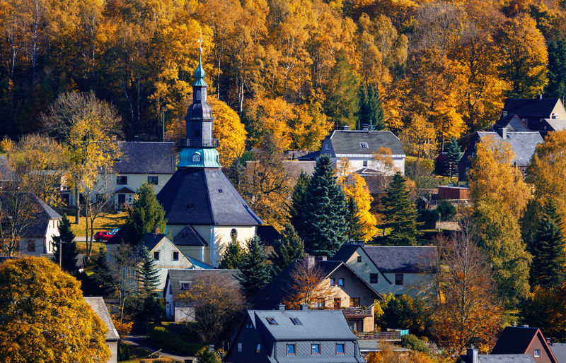 High angle view of trees and buildings during autumn
