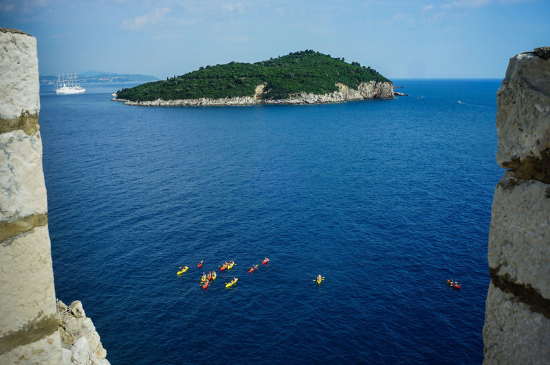 Top view of Dubrovnik, Croatia Water Sea Beauty In Nature Scenics - Nature High Angle View Blue Rock Nature Day Horizon Over Water Rock - Object Horizon Sky Rock Formation Solid Land Outdoors Tranquility Nautical Vessel Game Of Thrones Croatia Old Town Top View Shot