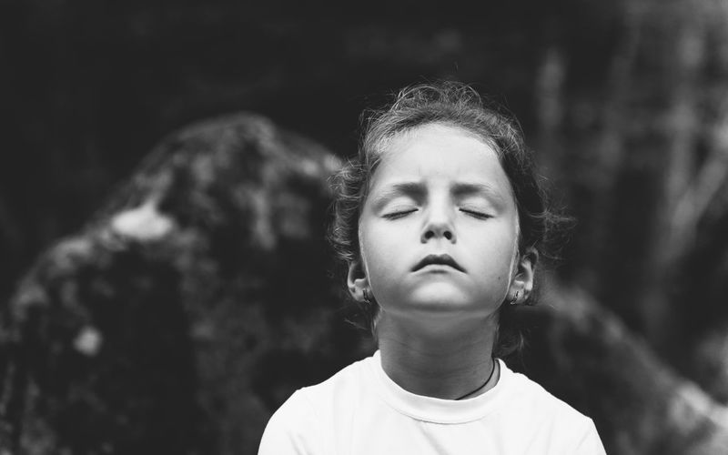 Meditation Nature Black And White Child In Nature Childhood Close-up Closed Eyes Cute Child Day One Person Outdoors People Real People Young Adult