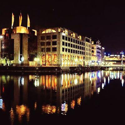 Genève Lake Geneva Mirroreffect Lights Night Night View Expensive Cities