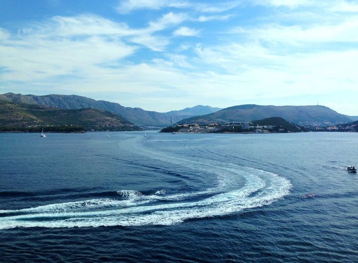 Awakening Beauty In Nature Croatia Day Dubrovnik In Front Of Me Mountain Nature No People Outdoors Scenics Sea Sea And Sky Sea Is My Life Sky Tranquil Scene Tranquility Traveling Wake - Water Water