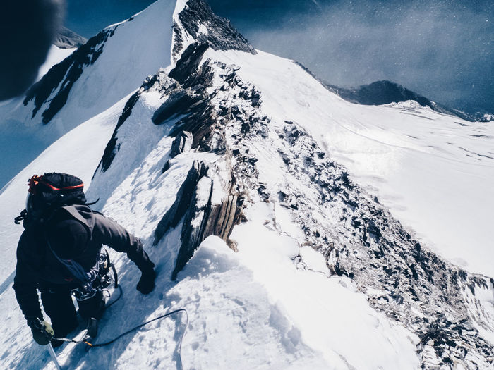 High Angle View Of Person On Snow Covered Mountain