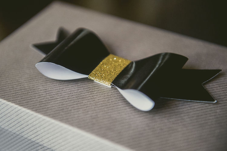Close-up of tied bow on gift box