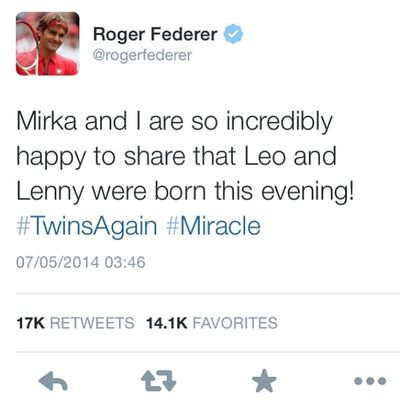 Twinsagain for @rogerfederer how lucky and great can 1 guy be? Iamalexchan Tennis Rogerfederer