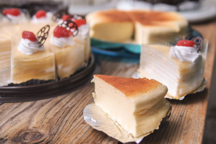 Close-up of cake slices on table