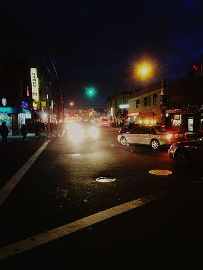 Brooklyn EMS Nightphotography Streetphotography Policecar New York Lights Colors