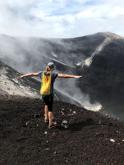 Smoke - Physical Structure Hiking Nature Volcanic Crater Sky Adventure Cloud - Sky Landscape Motion Foggy Landscape Crater Women Energetic Determination Lava Field Volcanic Rock Volcanic Landscape Nicaragua Cerro Negro Scenics Adrenaline Junkie Exploration Extreme Sports Hiking Foggy Morning
