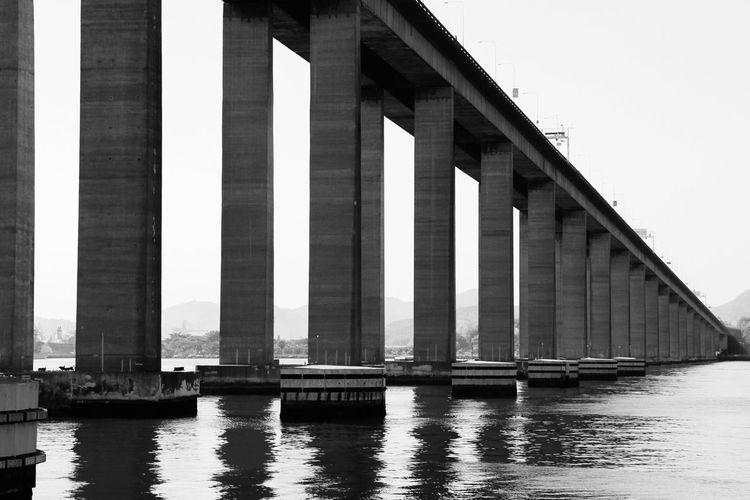 Rio–Niteroi Bridge Over Sea Against Clear Sky