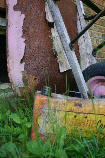 Abandoned Close-up Deterioration Front Or Back Yard Gas Can Grass Growth Old Wheelbarrow Rusty Rusty Gas Can Wheelbarrow