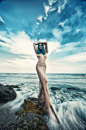 Sea Only Women Sky Front View Cloud - Sky Outdoors Nature Beauty Dressed To Impress Model Life Beautiful Woman Well-dressed Full Length Desinger Fashion Model Dresses Elégance Fashion Individuality Magazine Glamour Nature Naturephotography Beauty In Nature Nature On Your Doorstep