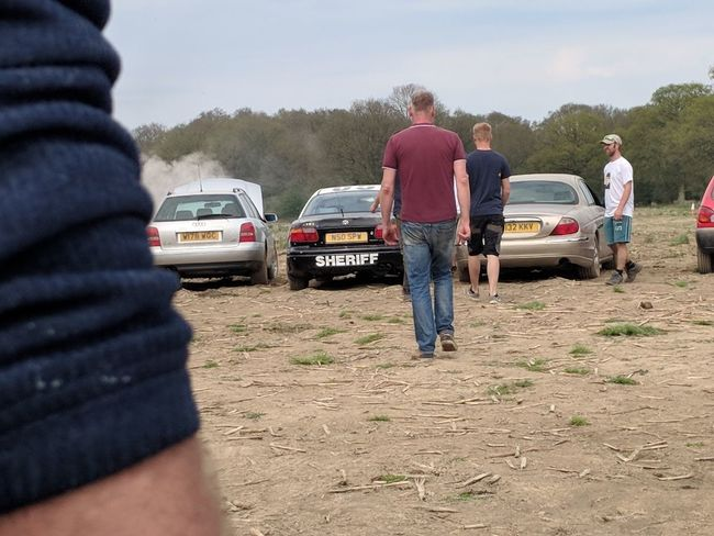 Car Broken Stag Do Banger Racing Lads Activity Health And Safety Fun Track Teamwork Friendship Togetherness Working Volunteer Senior Adult Cooperation Young Women Mature Men Mature Women Farmland Farmer