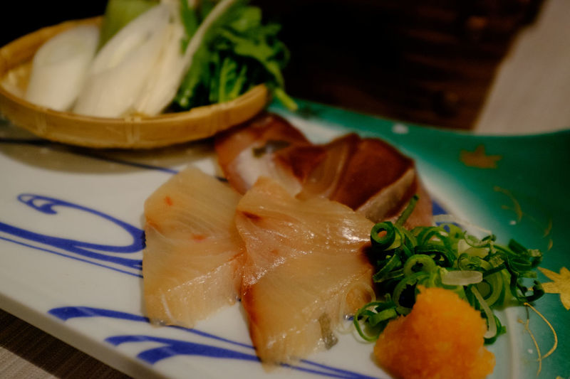 Close-up of sashimi served in plate on table