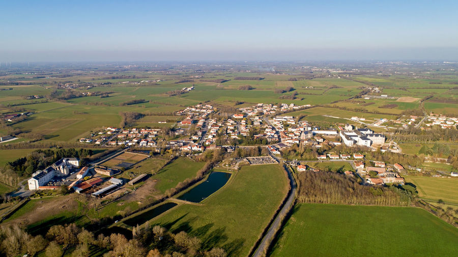 Aerial view of Mormaison village in Montreverd, Vendée, France Mormaison Montreverd Vendée France Village Town City Aerial View Landscape Environment Building Residential District Field House Cityscape Outdoors Day Land Nature Aerial Photography Europe Sunset Golden Hour Blue Sky Dusk