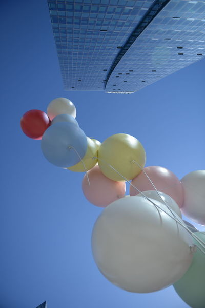 Balloon Blue Ceiling Celebration Clear Sky Close-up Day Focus On Foreground Hanging Helium Balloon Inflatable  Large Group Of Objects Low Angle View Multi Colored Nature No People Outdoors Sky String Sunlight