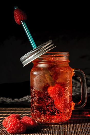 Dark mood food Photography Food And Drink Drink Refreshment Fruit Freshness Healthy Eating Food Still Life Container Drinking Straw Jar Straw Household Equipment Red Drinking Glass Glass Berry Fruit No People Indoors  Table