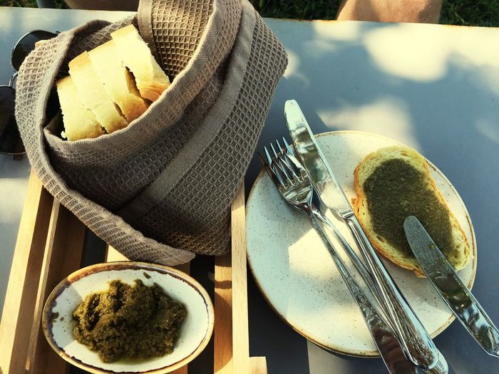 EyeEm Selects Food And Drink Plate Coffee Cup Table No People Fork Bowl Freshness Indoors  Coffee - Drink High Angle View Healthy Eating Ready-to-eat Close-up Food Drink Day Tapenade GreenOlives DIP Bread Breadbasket Greek Islands Kefalonia, Greece